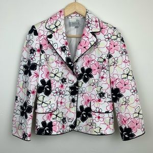 Tahari Floral 3 Button Blazer Career Jacket